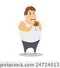 Cartoon Fat Man eating Burger. Vector 24724013