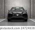 흑색 전기 자동차 SUV의 정면 이미지입니다. 원래 디자인. 24724638