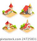 Church 4 Isometric Icons Set 24725831