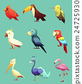 Exotic Tropical Birds Retro Icons Set 24725930