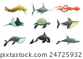 Fish And Marine Animals Cartoon Set  24725932