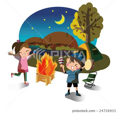 營地 露營 夜晚 24726931