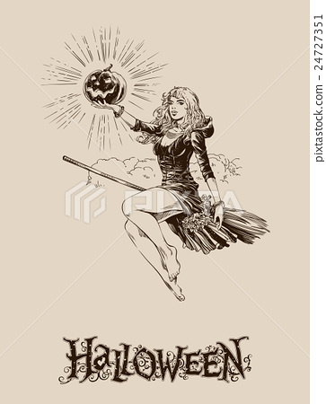 Blond halloween witch flying on broom vector  24727351