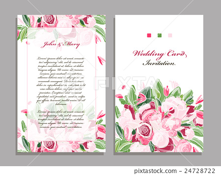 Wedding Card Template, Floral Design - Stock Illustration