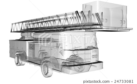 isoladed transparent fire truck 24733081