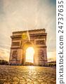 Beautiful sunset over Arc de Triomphe, Paris 24737635