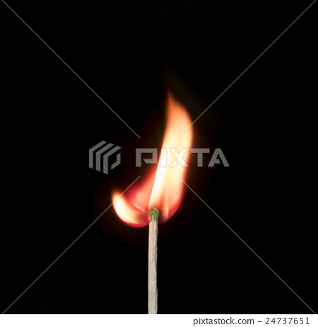 Ignition of a match, with smoke on dark background 24737651