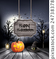 Halloween spooky background with wooden sign 24738378