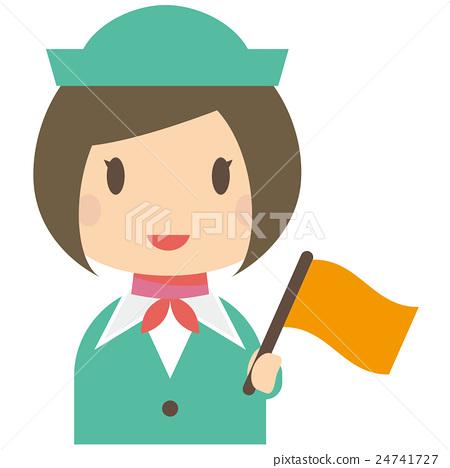 Bus Guide Ladies Tour Operator Yellow Green Uniform Flag 24741727