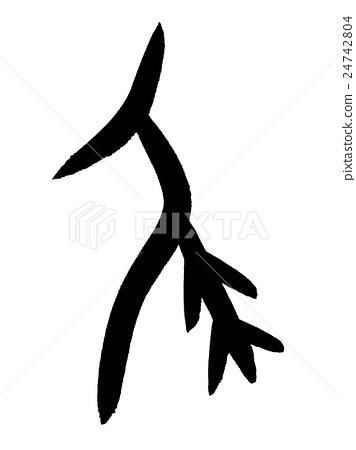 """骨文尾巴漢字""""尾巴""""甲骨文字 24742804"""