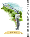 Chinese Great Wall. Watercolor icon 24744330