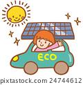 an ecocar, solar panel, solar panels 24744612
