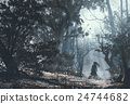 woman in mysterious dark forest 24744682