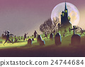 Halloween concept,cemetery with zombies at night 24744684