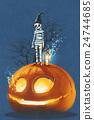 mummy standing on giant pumpkin,Jack O lantern 24744685