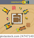 Construction Process Top View Illustration  24747140
