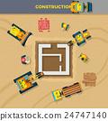 Construction Process Top View Illustration  24747140