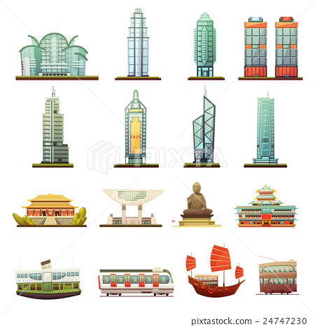 Hong Kong Landmarks Transportation Icons Set    24747230