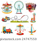 Amusement Park Attractions Flat Icons Set  24747550