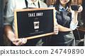 barista, blackboard, couple 24749890