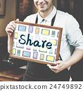 barista, blackboard, holding 24749892