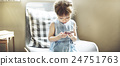 Small Girl Browsing Mobile Phone Concept 24751763