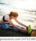Yoga Exercise Active Beach Outdoor Concept 24752380