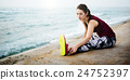 Yoga Exercise Active Beach Outdoor Concept 24752397