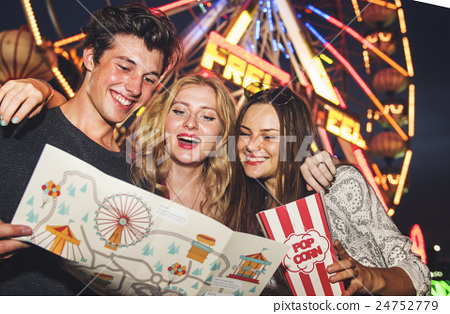 Amusement Park Friends Enjoyment Lifestyle Concept 24752779