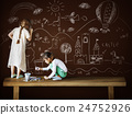 Creative Drawing Imagination Girl Blackboard Concept 24752926