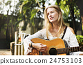 Hippie Woman Playing Music Concept 24753103