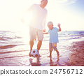 Father Son Playing Soccer Beach Summer Concept 24756712