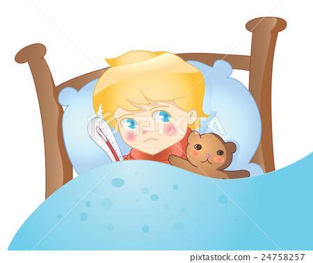Sick Boy Lying In Bed Vector Stock Illustration 24758257 Pixta