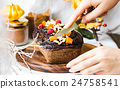 chocolate cake with pumpkin, nuts , autumn baked 24758541