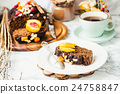 piece of chocolate cake with pumpkin, nuts,peaches 24758847