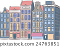 Vector. Amsterdam. Multi-colored houses. 24763851