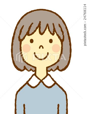젊은 여성 보브 헤아 24768114
