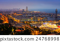 View to Port Vell of Barcelona in night 24768998