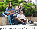 Teenagers friends playing musical instruments 24770432