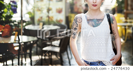 Stock Photo: Tattoo Cheerful Asian Ethnicity Calm Casual Concept