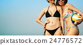 Women Friendship Playing Volleyball Beach Summer Concept 24776572