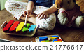 Kid Playing Xylophone Toy Enjoy Concept 24776647