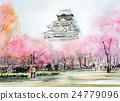 大阪城春天素描城堡和櫻花大阪櫻花 24779096