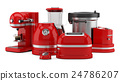 red kitchen appliances isolated on white  24786207