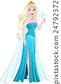 Snow Princess In Blue Dress Holds Snowflake 24792372