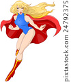 Woman Super Hero Flying With Cape 24792375