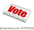 Politics concept: newspaper headline Vote 24792646