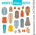 Women winter clothes flat vector icons set 24794364