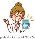白人婦女女性計算器信息 24796574