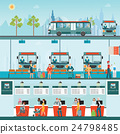 Bus terminal with bus limousine with people  24798485